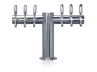 six tap tower, six faucet, Tower, tube, straight, T, Chrome, Stainless steel title=
