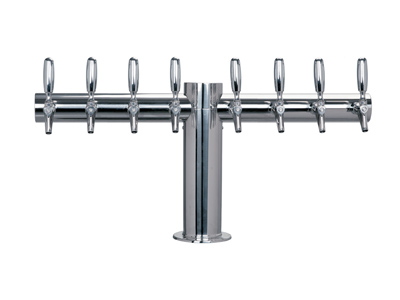 Eight tap tower, six faucet, Tower, tube, straight, T, Chrome, Stainless steel title=