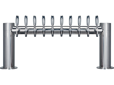 ten tap tower, ten faucet, Tower, tube, straight, H, Chrome, Stainless steel