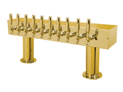 """Double Ped 4"""" - 10T PVD Brass Draught Beer Tower"""