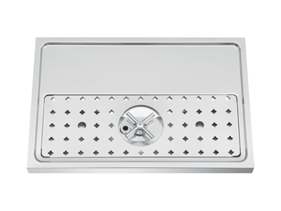 600x400x40 Chrome Counter Mount Tray with Rinser & Drain title=