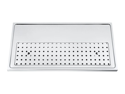 1000mm x 500mm x 40mm   Stainless steel platform workstation drip tray with integral glass rinser title=