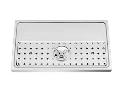 700mm x 400mm x 40mm   Stainless steel platform workstation drip tray with integral glass rinser title=