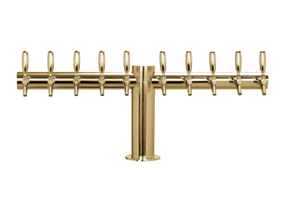 ten tap tower, ten faucet, Tower, tube, straight, T, Chrome, Brass, Stainless steel,PVD title=